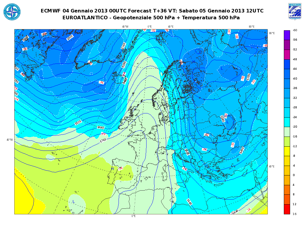 Previsioni Meteo Aeronautica Militare Sabato 5 Gennaio 2013: variabilità al Sud e sull' Adriatico