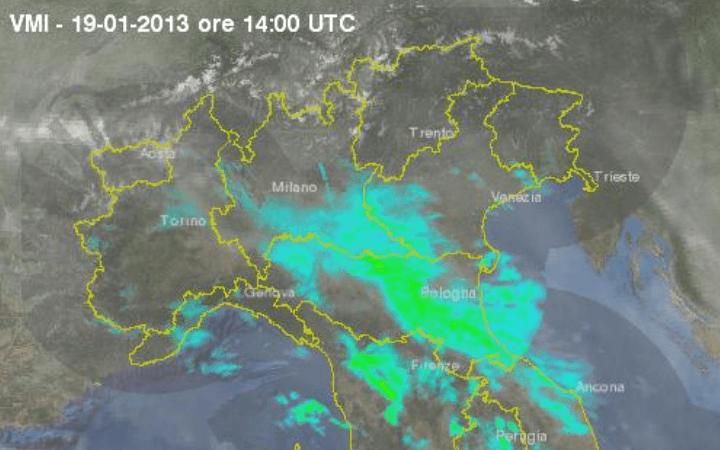 Scatto radar ore 15.00 - Preicpitazioni in netto aumento