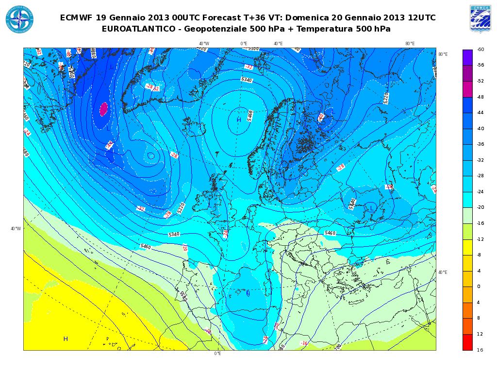 Previsioni Meteo Aeronautica Militare Domenica 20 Gennaio 2013: maltempo con neve al Nord