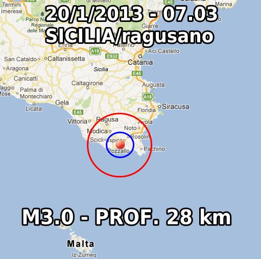Terremoto Oggi 20 Gennaio 2013