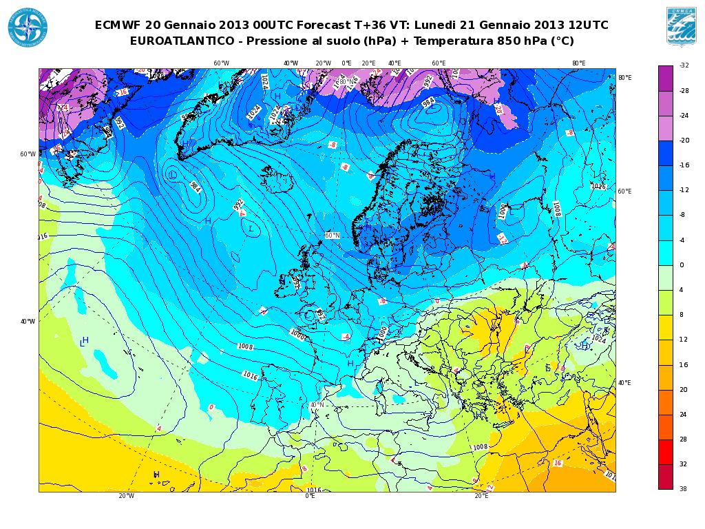 Previsioni Meteo Aeronautica Militare Lunedì 21 Gennaio 2013: instabilità su Tirreno e Nord-Est
