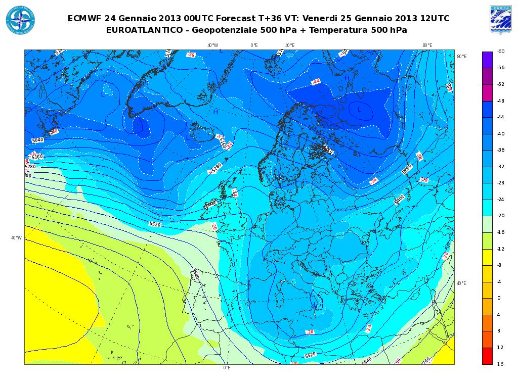Previsioni Meteo Aeronautica Militare Venerdì 25 Gennaio 2013: neve a quote collinari in Adriatico