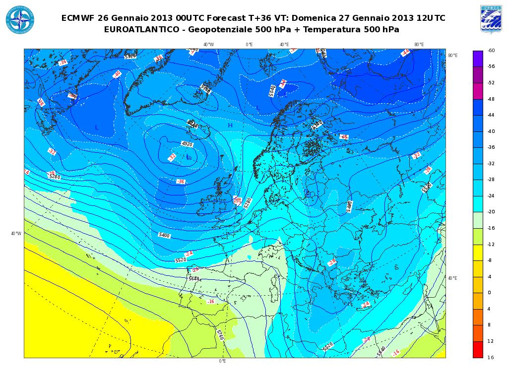 Previsioni Meteo Aeronautica Militare Domenica 27 Gennaio 2013: prevalenza di bel tempo