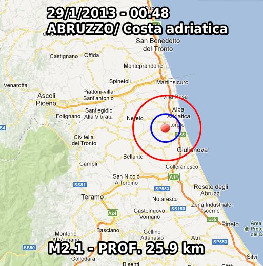 Terremoto Oggi 29 Gennaio 2013