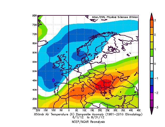 Clima e meteo Estate 2012, analisi in Italia ed Europa. Anomalie termiche ad 850 hPa, stesso pattern della mappa precedente: anomalie calde sull'Europa meridionale ed orientale, fredde su vicino Atlantico, Isole Britanniche, Mare del Nord e Scandinavia. Fonte: NOAA