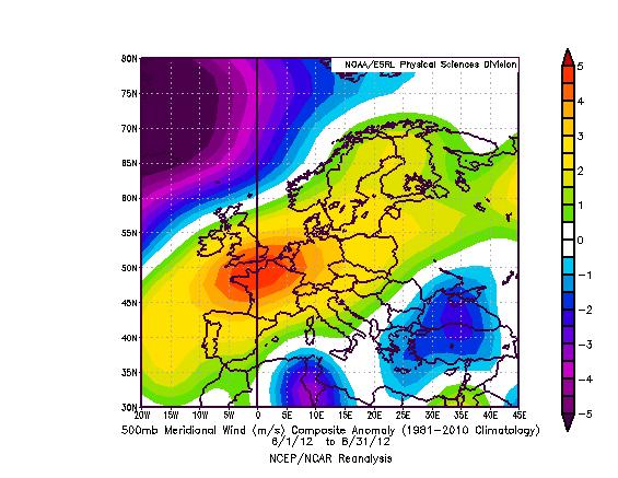 Clima e meteo Estate 2012, analisi in Italia ed Europa. Analisi della componente meridionale del vento a 500 hPa. Fonte: NOAA