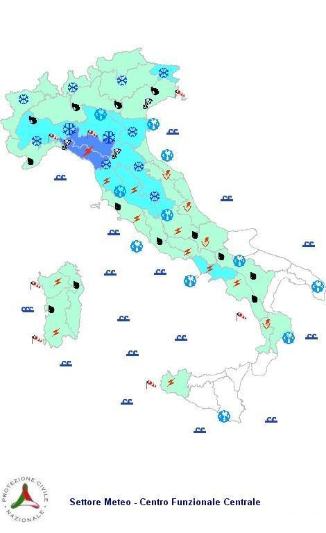 Previsioni meteo 2 Febbraio 2013 Italia: il bollettino della Protezione Civile