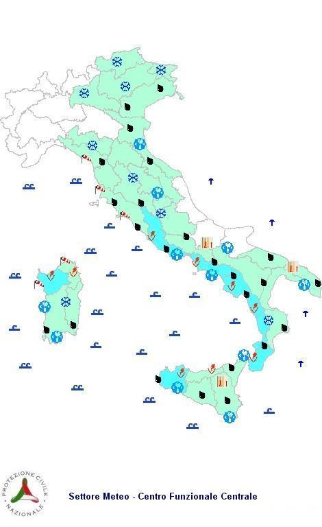 Previsioni meteo 6 Febbraio 2013 Italia: il bollettino della Protezione Civile