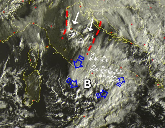 Circolazione ciclonica al Sud
