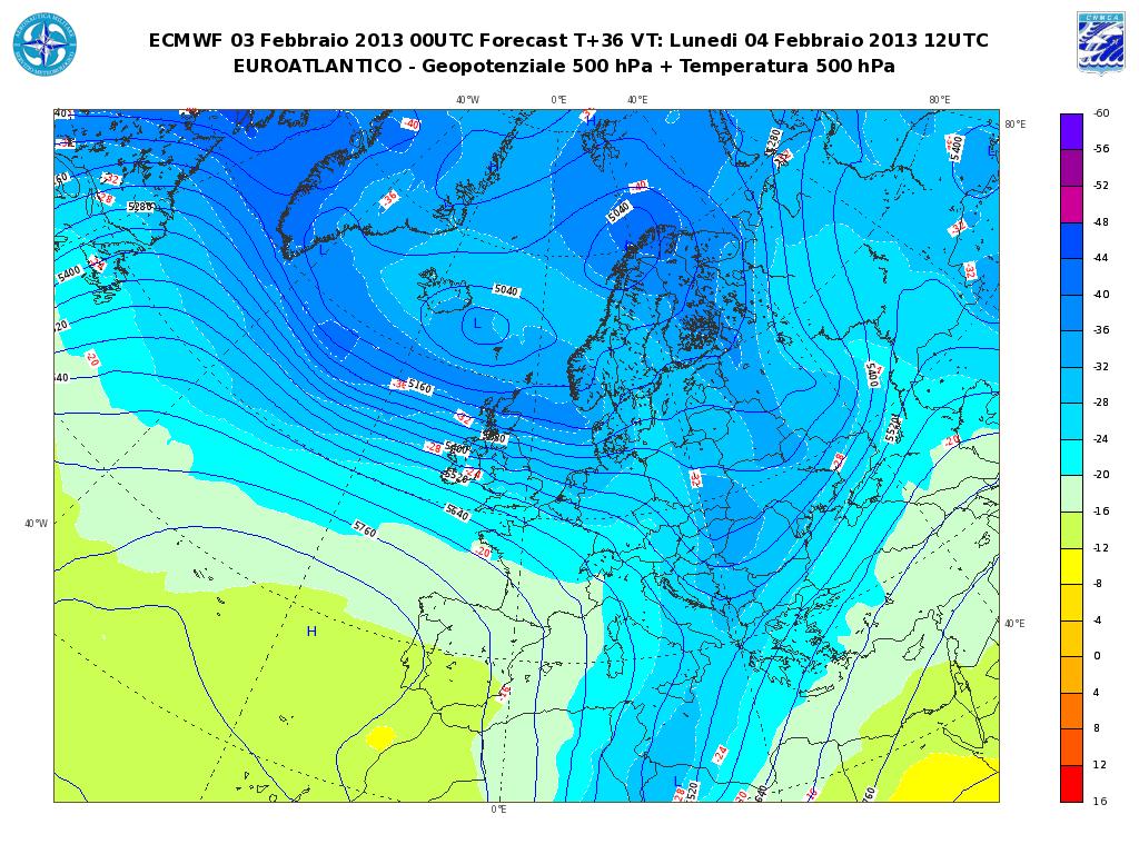Previsioni Meteo Aeronautica Militare Lunedì 4 Febbraio 2013: prevalenza di bel tempo