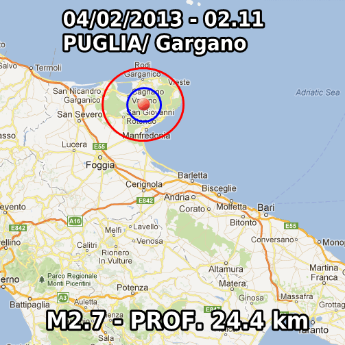 Terremoto Oggi 4 Febbraio 2013