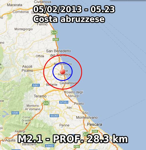 Terremoto Oggi 5 Febbraio 2013