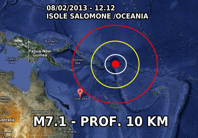 Terremoto Isole Salomone 8 Febbraio 2013