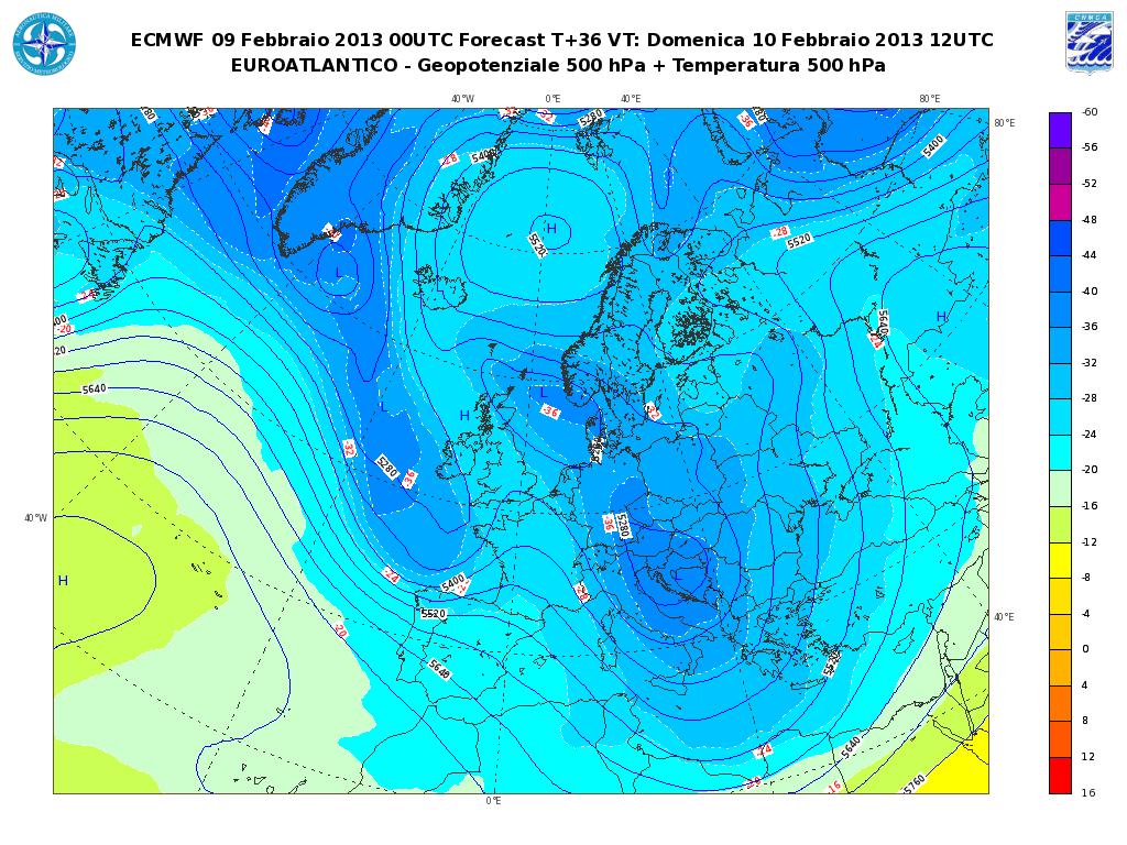 Previsioni Meteo Aeronautica Militare Domenica 10 Febbraio 2013: tempo instabile al Sud