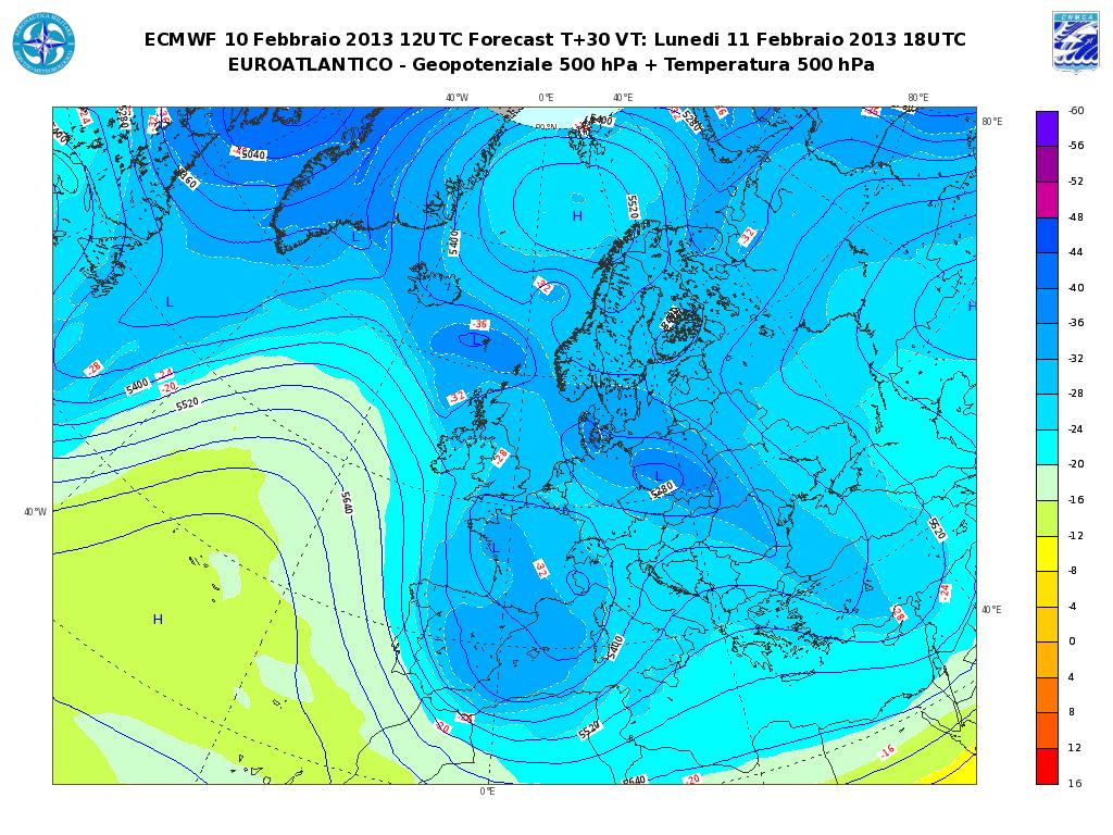 Previsioni Meteo Aeronautica Militare Lunedì 11 Febbraio 2013: forti nevicate al Nord