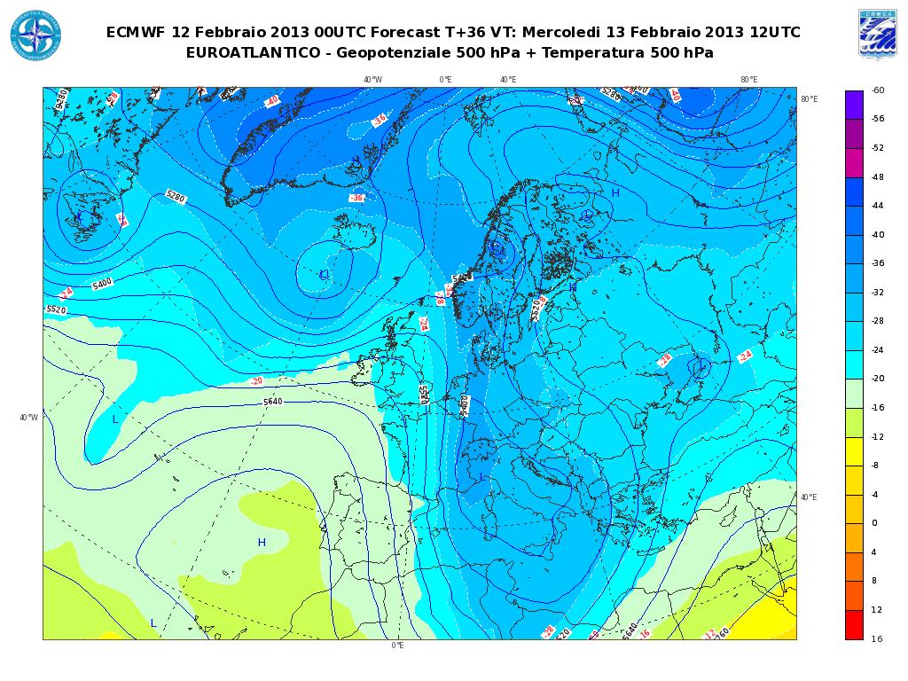Previsioni Meteo Aeronautica Militare Mercoledì 13 Febbraio 2013: altre precipitazioni al Sud e sul versante adriatico