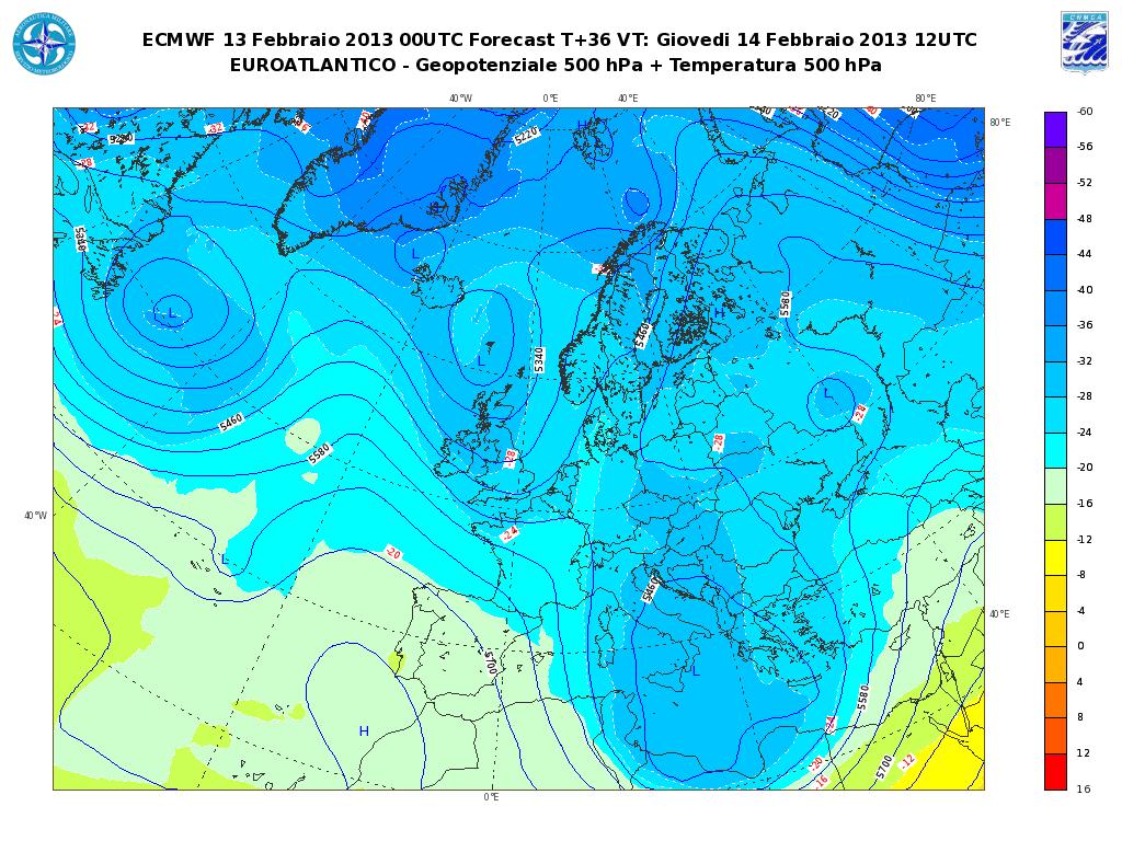 Previsioni Meteo Aeronautica Militare Giovedì 14 Febbraio 2013: instabilità su Adriatico e Sud Italia