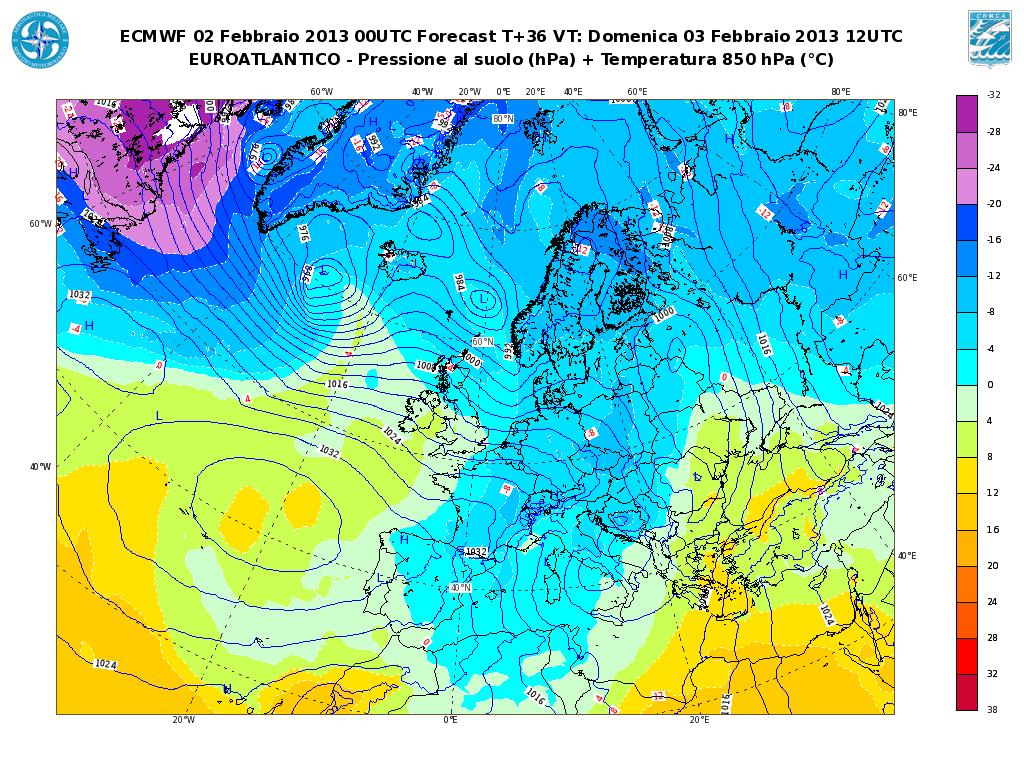 Previsioni Meteo Aeronautica Militare Domenica 3 Febbraio 2013: maltempo al Sud, freddo e vento al Centro-Nord