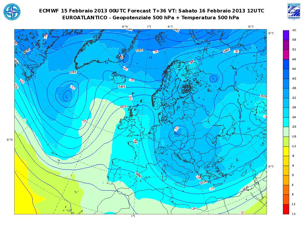 Previsioni Meteo Aeronautica Militare Sabato 16 Febbraio 2013: maltempo al Sud e sul Medio Adriatico.