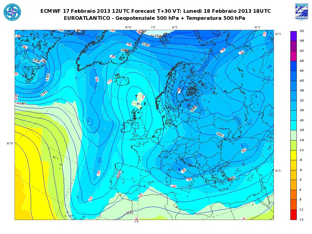 Previsioni Meteo Aeronautica Militare Lunedì 18 Febbraio 2013: qualche precipitazione al Sud e sul Medio Tirreno
