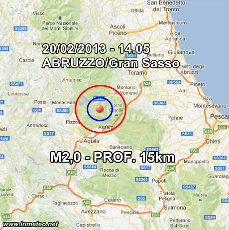 INGV Terremoto Oggi 20 Febbraio 2013