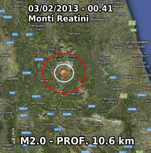 Terremoto Oggi 3 Febbraio 2013