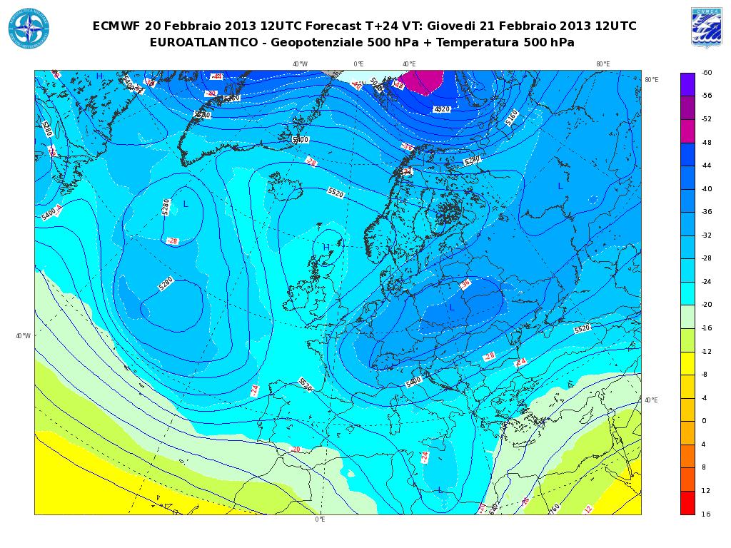 Previsioni Meteo Aeronautica Militare Giovedì 21 Febbraio 2013: peggiora con piogge e neve fino al piano al Nord