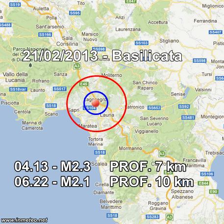 INGV Terremoti Oggi 21 Febbraio 2013