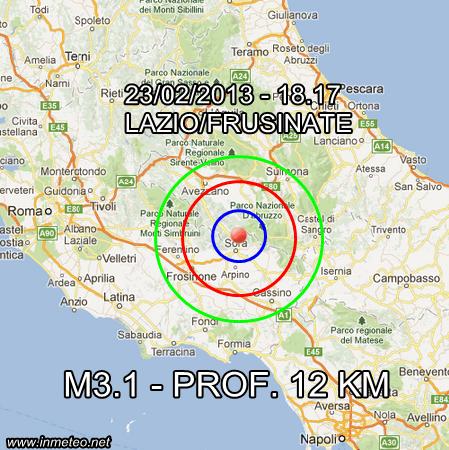 Terremoto Lazio Oggi 23 Febbraio 2013