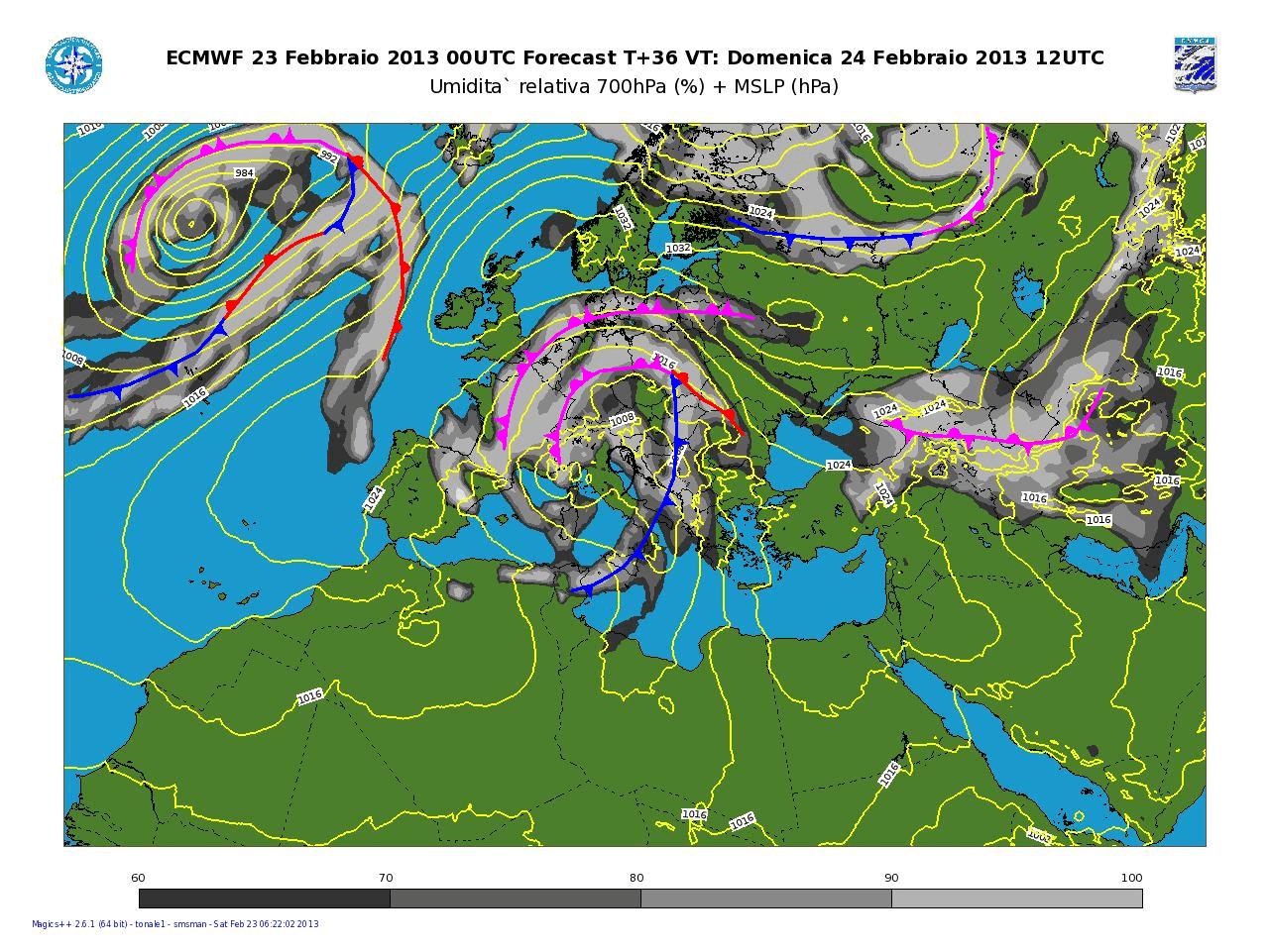 Previsioni Meteo Aeronautica Militare Domenica 24 Febbraio 2013: maltempo invernale specie lungo il Tirreno.