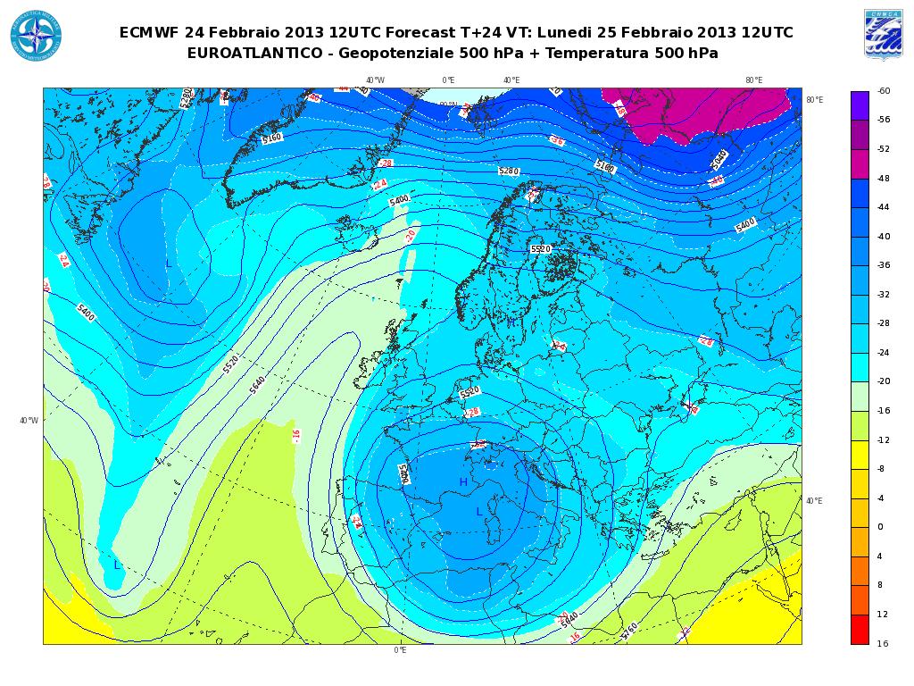 Previsioni Meteo Aeronautica Militare Lunedì 25 Febbraio 2013: ancora maltempo al Nord e sul Tirreno