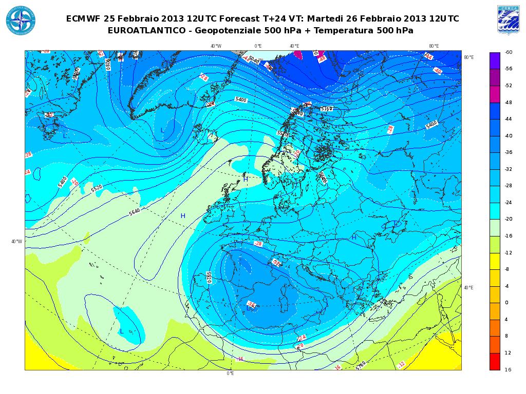Previsioni Meteo Aeronautica Militare Martedì 26 Febbraio 2013: persiste l'instabilità invernale