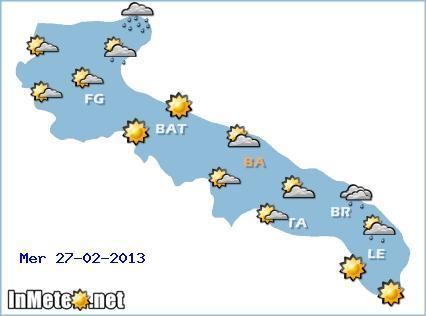Puglia, il meteo per domani 27 Febbraio e i prossimi giorni