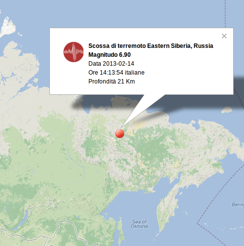 Ingv terremoto in tempo reale: scossa in Siberia M 6.9