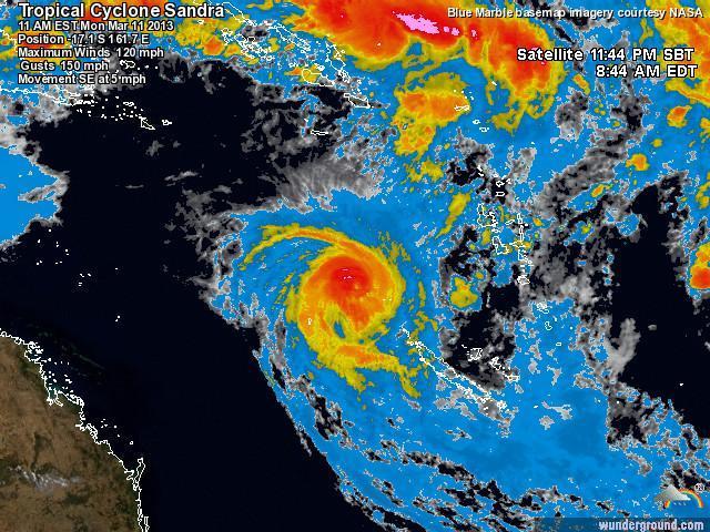 Ciclone Sandra si è sviluppato giovedì scorso nel sud-est dell'Indonesia e minaccia ora la Nuova Caledonia