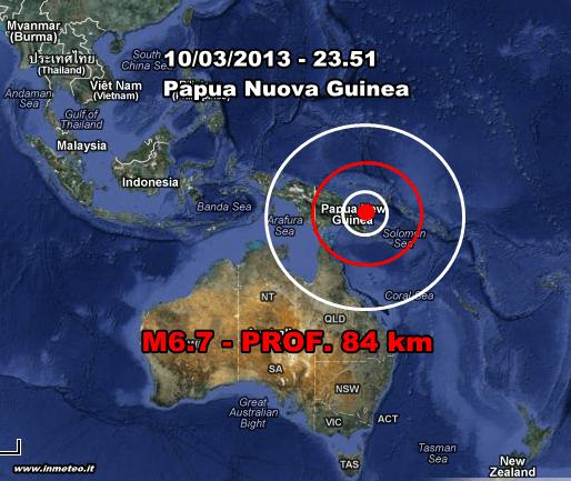 Terremoto Oceania 11 Marzo 2013 - Forte scossa di magnitudo 6.7 in Papua Nuova Guinea