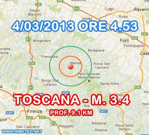 Terremoto Oggi in tempo reale