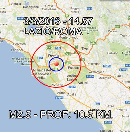 Terremoto Roma 3 Marzo 2013
