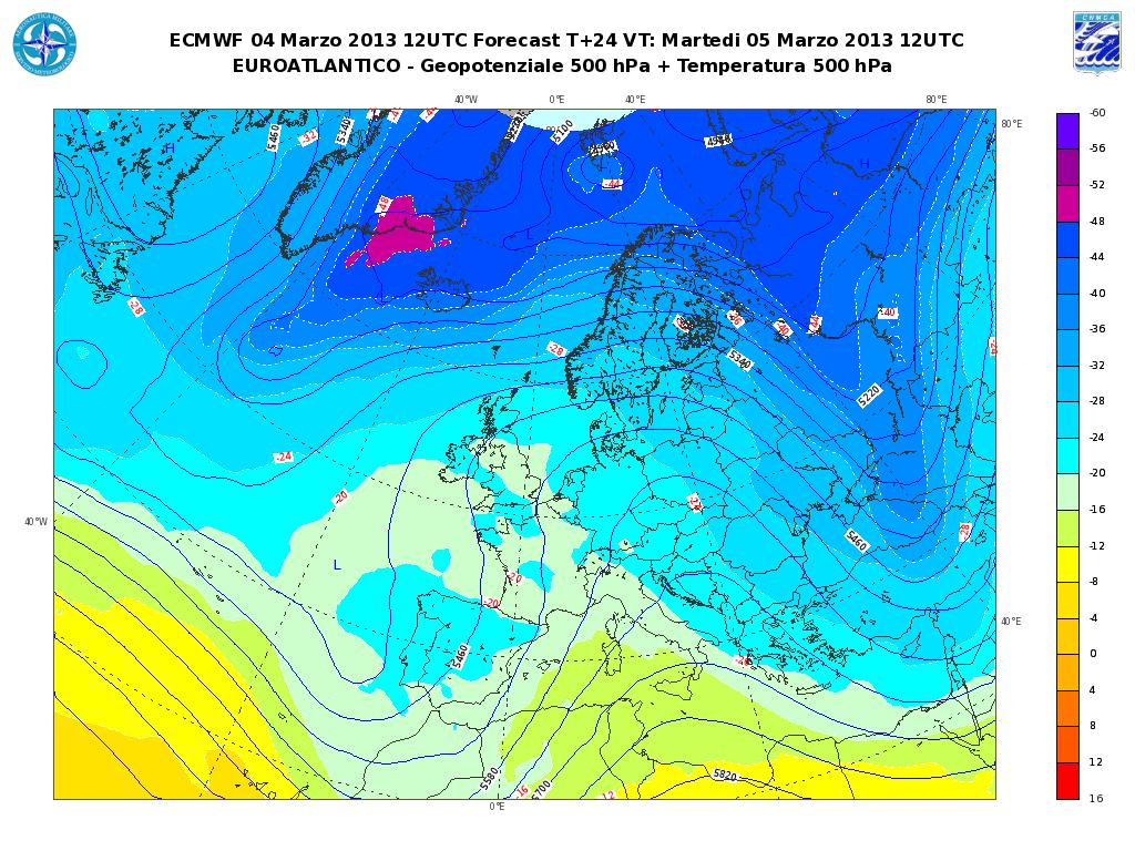 Previsioni Meteo Aeronautica Militare Martedì 5 Marzo 2013. Peggiora al Nord e sul Tirreno.