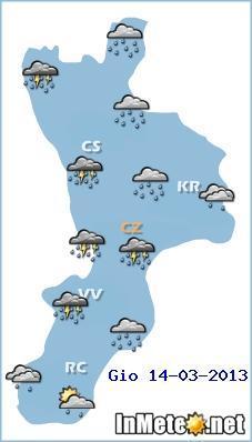 Calabria, previsioni grafiche 14 Marzo 2013