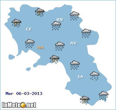 Campania: forte maltempo previsto per la giornata di Mercoledì