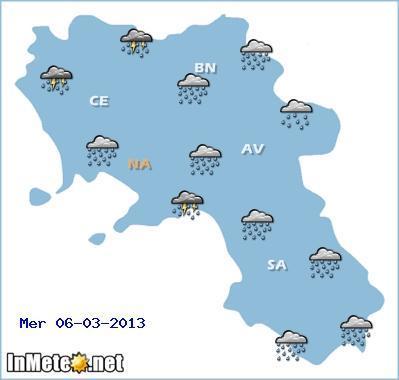 Campania, previsioni meteo domani 6 Marzo 2013