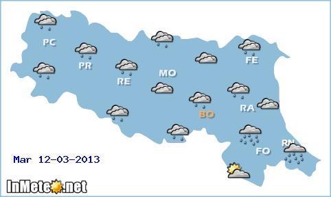 Emilia Romagna: incerto con piogge in genere deboli domani 12 Marzo; forte peggioramento invece fra Mercoledì e Giovedì