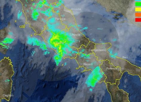 Sistema temporalesco visibile dal Radar sul Lazio