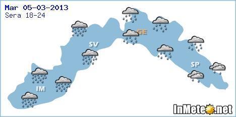 Liguria: peggioramento con piogge e temporali Martedì