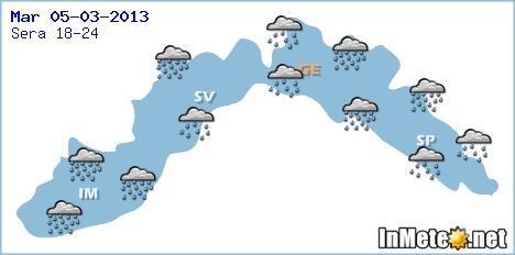 Liguria: maltempo diffuso, fenomeni piu' intensi attesi su provincia di Imola e fra genovese e spezzino