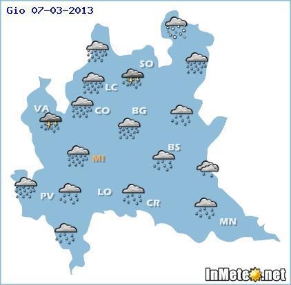 Lombardia, previsioni meteo oggi 7 Marzo 2013