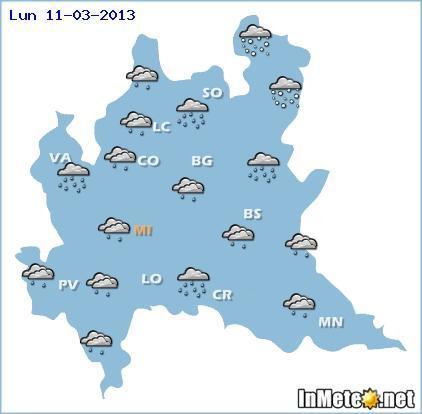 Lombardia: previsioni meteo, instabile con piogge Lunedì 11 Marzo 2013, poi ritorno della neve in collina