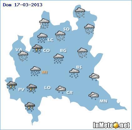 Lombardia: previsioni grafiche per domani 17 Marzo 2013