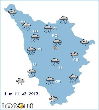Toscana: maltempo domani 11 Marzo 2013, precipitazioni anche di forte intensità sui settori centro-settentrionali